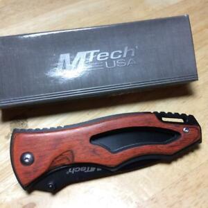 "MTech USA Tactical Brown Pakkawood Linerlock 4 1/2"" Pocket Knife MT416"