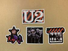 "Lot of 4 U2 2"" x 2"" Band Logo Sticker Black Red White Fast Ship! Bono The Edge"