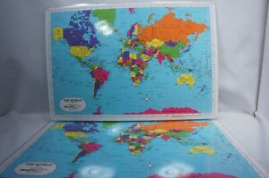 ONE *World Map* Placemat Laminated Painless Learning Educational Washable  New