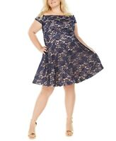 B. Darlin Women's Plus Size Off-The-Shoulder Lace Dress Navy/Nude Size 20W