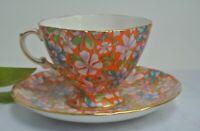 Exquisite Hammersley Orange Chintz Tea Cup and Saucer