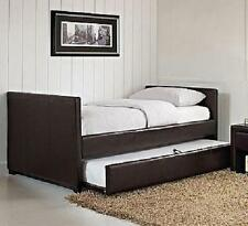 Twin Daybed WITH TRUNDLE Bed in Brown Faux Leather - FREE SHIPPING