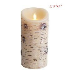 Luminara Birch Bark Rustic Style Moving Flame LED Pillar Timer Candle/Remote
