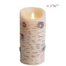 Luminara Birch Bark Rustic Style Moving Flame LED Pillar Timer Candle/Remote