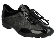 LADIES RIEKER 58312 BLACK LEATHER SMART FLAT LACE UP CASUAL FORMAL SHOES SIZE