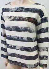 DRIES VAN NOTEN Cream & Grey Silk Stripe Landscape Print Long Sleeve Blouse Top