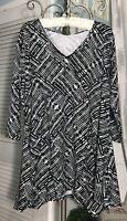 NEW Plus Size 3X Black White Print Jersey Notations Tunic Top Shirt Blouse