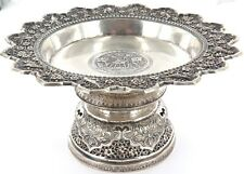 EXQUISITE / DECORATIVE CHINESE SILVER COMPORT. HALLMARKED TO BASE.