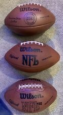 3 Vintage Wilson Leather Footballs Official Nfl Pro & Duke Nfl Used Display