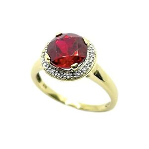 Created Ruby & Diamond 9ct Gold Ring