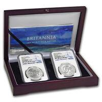 2018 2-Coin Silver 1 oz Britannia Prf/Rev Prf Set PF-69 NGC (ER) - SKU#177520