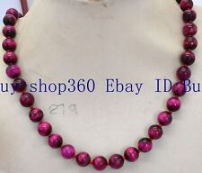 Natural 8mm Rose Red Tiger's Eye Gemstone Round Beads Necklace 18'' AAA