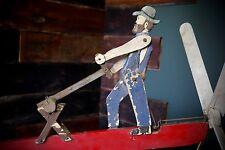 Vintage Whirligig Lumber Jack Wooden Windmill Weathervane Vintage Saw Garden hat