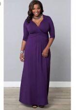 Kiyonna Design Plus Size 2 Purple Stretch Jersey Fabric Maxi Dress NEW w Tag