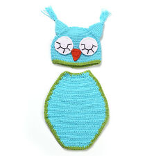 Newborn Baby Crochet Knit Blue Owl Hat Cover Blanket Photography Props Costume