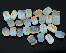 Opalite Stone Rune Set Symbols Gemstone Healing Crystal Runes 25 Pieces 10 Mm