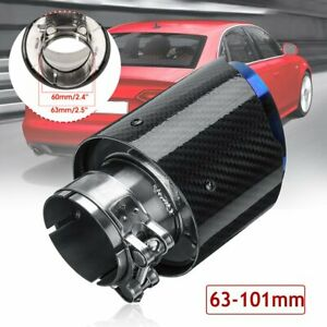 Stainless Steel 63mm-101mm Universal Glossy Carbon Fiber Exhaust Pipe End Tip