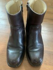 FRYE Model 87955 Brown Leather Side Zip Round Toe Boots - Men's Size 10.5 M