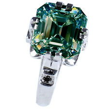 3.26 ct VVS1/BLUE GREEN EMERALD MOISSANITE & NATURAL BLACK DIAMOND SILVER RING