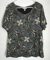 Croft & Barrow Womens 1X Shirt Black Print Blouse Short Sleeve Scoop Neck Lined