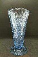 Vintage Indiana Glass Diamond Point Footed Trumpet Vase, Ice Blue