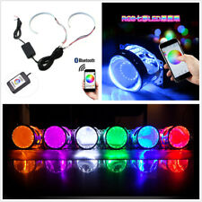 Bluetooth Wireless Control RGB LED Demon Eye Halo Ring Kit Headlight Projector