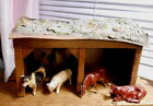 Vintage Germany Putz Wood Stables with Four Farm Animals