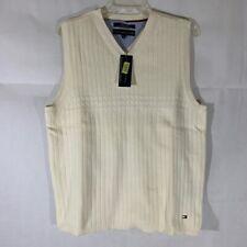 Tommy Hilfiger Mens Pullover Sweater Vest Ivory Sleeveless V-Neck Cotton M New