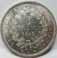 FRANCE 5 francs 1848 A aUNC Silver Paris Hercules Francaise #D18