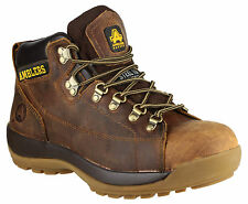 Mens Safety Work Boots / Brown Leather Laced Industrial Steel Toe Cap Amblers