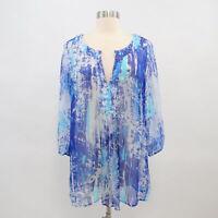 Soft Surroundings Tunic Blouse Top Womens Silk Tides M Medium Blue Turquoise