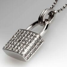 1.67ct NATURAL ROUND DIAMOND 14K SOLID WHITE GOLD WEDDING LOCK PENDANT