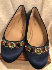 TALBOTS  Navy Blue Satin Jewels Ballet Flats  7.5 7 Medium  Excellent Condition