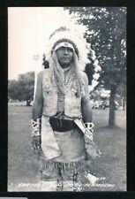 CHIPPEWA INDIAN CHIEF, Lac Du Flambeau, WIS Original 1940s Real Photo Postcard