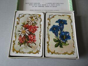 vintage playing cards double pack Piatnik alpine flowers boxed B/208