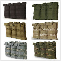 Triple Magazine Pouch Fask Military Vest For 5.56 .223 Mag Open Top Bag Pack