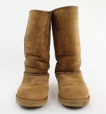 """Ugg """"Classic Tall"""" Tan Leather Round Toe White Sheep Fur Lining Boots Size 9"""