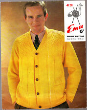 Vintage Emu  Knitting Pattern, Mans Cardigan, 4120, 36-44in