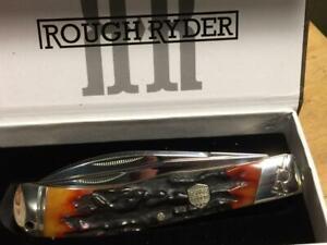 """Rough Ryder Brown Stag Bone Jumbo Trapper 5"""" Pocket Knife  RR1801"""