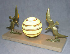 Genuine Art Deco Table Lamp Swooping Bronze Birds on Marble Base
