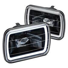 For Ford F 150 78 86 Lumen 7x6 Rectangular Black Ccfl Halo Headlights Fits Mustang
