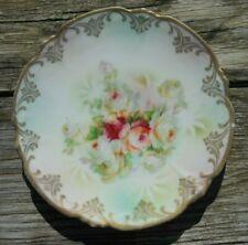 "C.A.L.& S.Leughtenburg Lehman & Son Hand Painted Plate Germany Gilt Roses-6 3/4"""