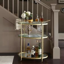 Antique Gold Bar Cart Glass Metal Contemporary Kitchen Room Furniture Home New