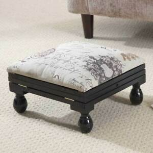 Gablemere 3 Position Footstool, Mahogany Brown & White L30 x W30 x H20-39 cm