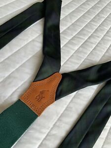 Vintage Polo Ralph Lauren Dark Green & Navy Plaid Silk & Leather Suspenders NEW!
