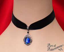 Gothic BLUE CRYSTAL BLACK VELVET CHOKER Necklace Victorian Style Pendant C26