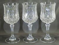 """(3) CRISTAL D'ARQUES-DURAND LONGCHAMP CLEAR - 6-1/2"""" H. / 5-3/4 OZ. WINE GLASSES"""