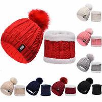 Set Scarf & Hat Women Winter Alpaca Wool Knitted Beanie Hat Neck Fleece Pom Pom