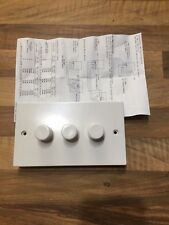Light Dimmer Switch Push On Off 250W 3 Gang 2 Way White Plastic