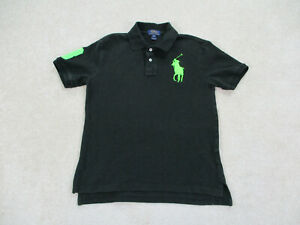 Ralph Lauren Polo Shirt Youth Large Black Green Pony Cotton Rugby Kids Boys A33